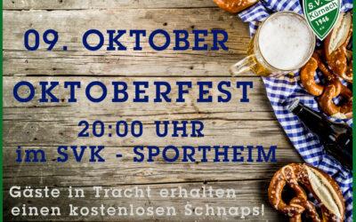 Oktoberfest am 09. Oktober im Sportheim